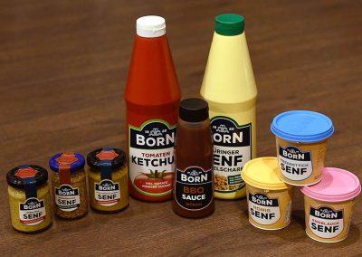 Senf, Ketchup und BBQ-Sauce von Born bei EDEKA Motz